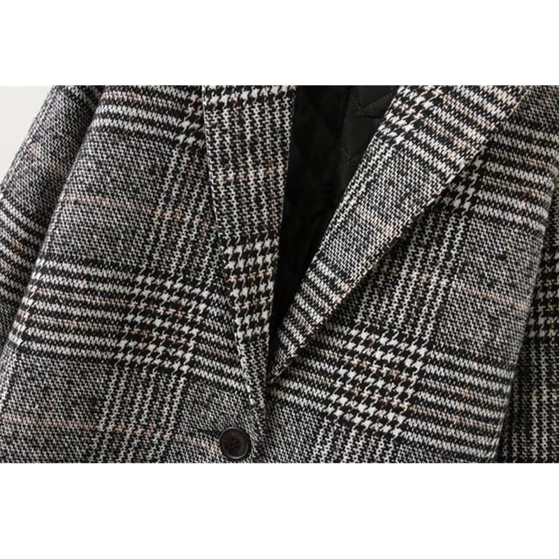 Vestes Ioqrcjv Chaud Taille Plaid Épaississent De Automne 2018 Manteaux Laine D'hiver Et Gray Matelassé Grande Femmes Coton Q039 Owv0Z