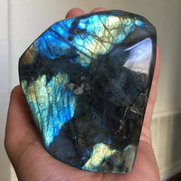 Polished Labradorite Gem Stone Palm Madagascar Labradorite Self Standing,500 750grms One Pack 3+