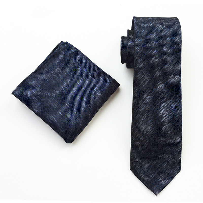 New Design Navy 8cm Tie Set For Men Paisley Tie Handkerchief Woven Classic Men's Necktie & Pocket Square Set  Men Gift Set