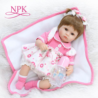 NPK 40cm Realistic reborn doll soft silicone newborn baby doll with wig playing toys for kids Christmas sweet baby