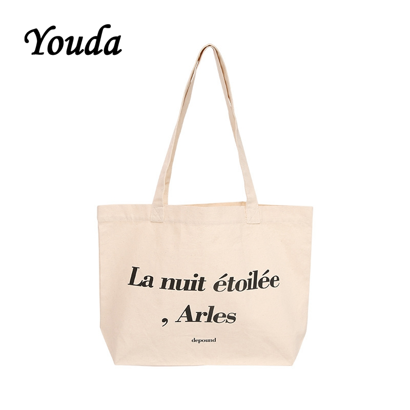 Youda Simple Letter Printing Shoulder Bag Ladies Fashion Canvas Bags Simple Handbag Large Capacity Casual Shipping ToteYouda Simple Letter Printing Shoulder Bag Ladies Fashion Canvas Bags Simple Handbag Large Capacity Casual Shipping Tote