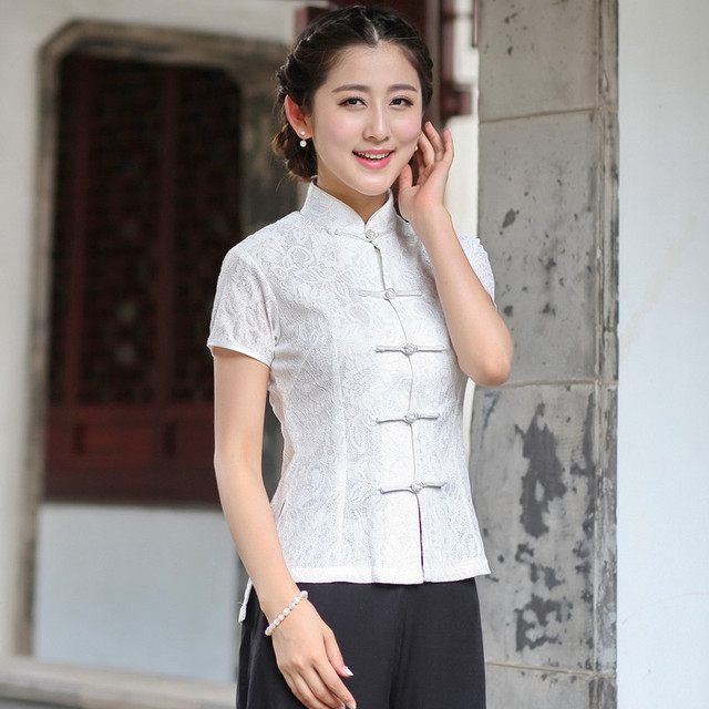 9f04701ef New Arrival Summer Chinese Style Lace Women Tang Suit Tops Blouse  Traditional Elegant Slim Shirt M L XL XXL XXXL 2520-5