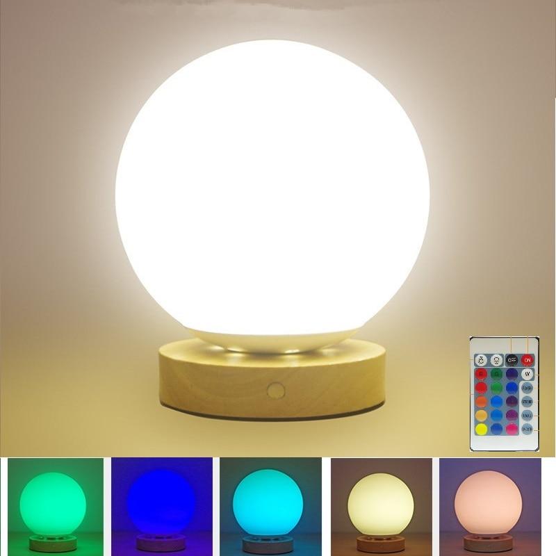Creatieve Nordic Glazen Bol Tafellamp Usb Led Dimmen Touch Sensor Kleurrijke Nachtlampje Afstandsbediening Voor Slaapkamer Kids Baby