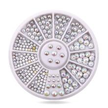 hottest Japanese wheel decoration fashion mix sizes 3D Colorful Opal AB metal rivet/stud for Nail Art