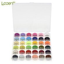 36 Pcs Looen Colorful Sewing Thread High Quality Clear Plastic Machine Bobbins Embroidery Pre-wound Kit With Box