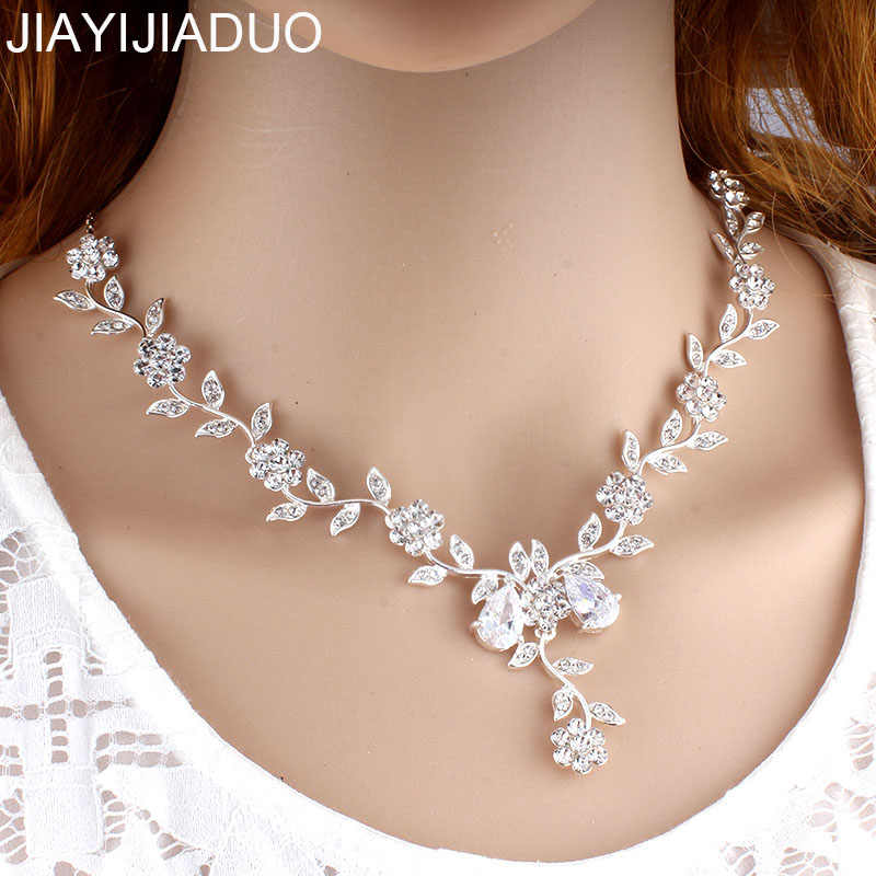 jiayijiaduo Wedding necklace silver for women bride bridesmaid jewelry crystal flower vintage necklace dropshipping