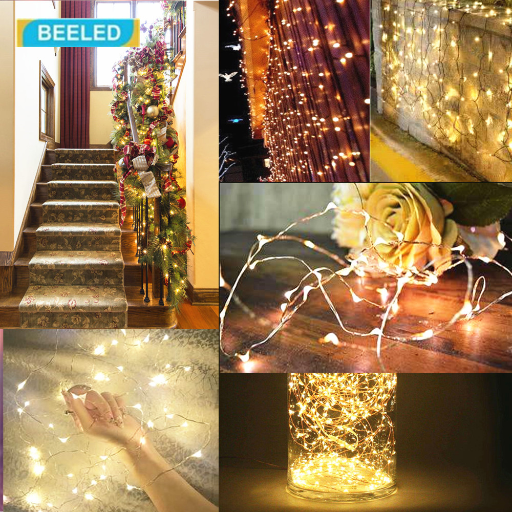 flexible copper led strip lights usb powered wire 10m 100 leds waterproof outdoor christmas lighting clear box in lighting strings from lights lighting on