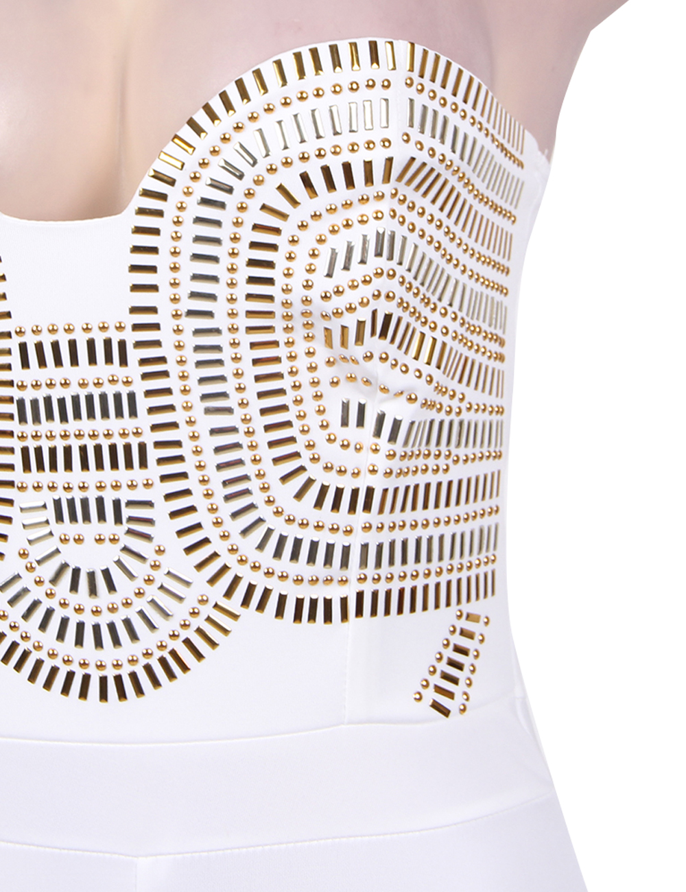 0b106b90817 Elegant gold embellished jumpsuit Strapless Women jumpsuit long Long  playsuits Sequined
