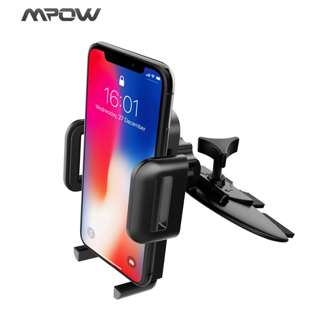Mpow Smartphone CD Slot Car Mount Phone Stand Holder Cradles with Three Side Grips for iPhone 7 6 6s plus Samsung Galaxy S8 S7