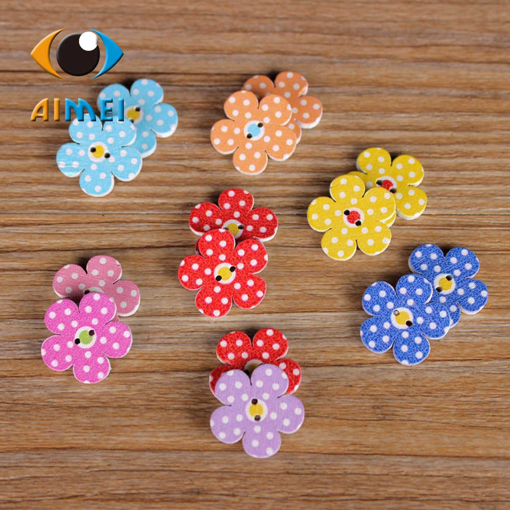50pcs/lot Flower Painting Wooden Buttons For Clothes Flower Shape Wooden Button For Needlework Sewing Accessories