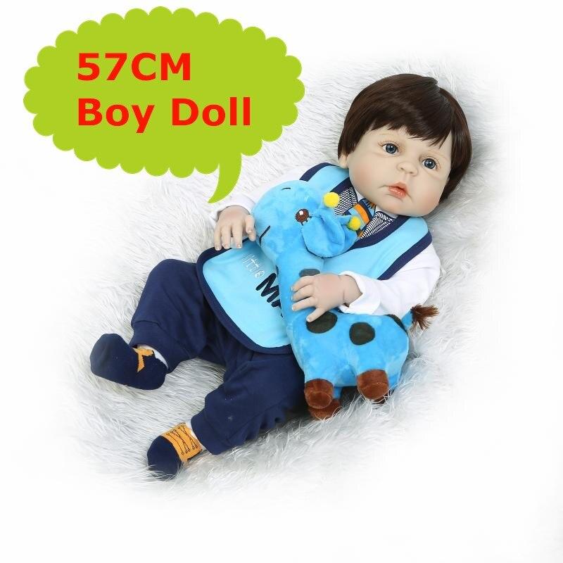 57CM Adorable Full Silicone Reborn Bebe Boy Doll Real Alive Baby Boy Boneca In Fashion 22