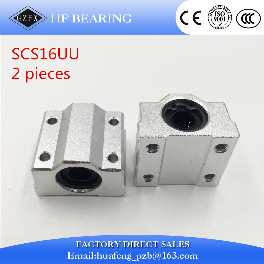 2pcs x SC16UU 16mm Linear Ball Bearings Pillow Block Linear Motion Ball Slide unit Box-type Slide bearing for CNC lm6luu 6 x 12 x 35mm carbon steel linear motion ball bearings