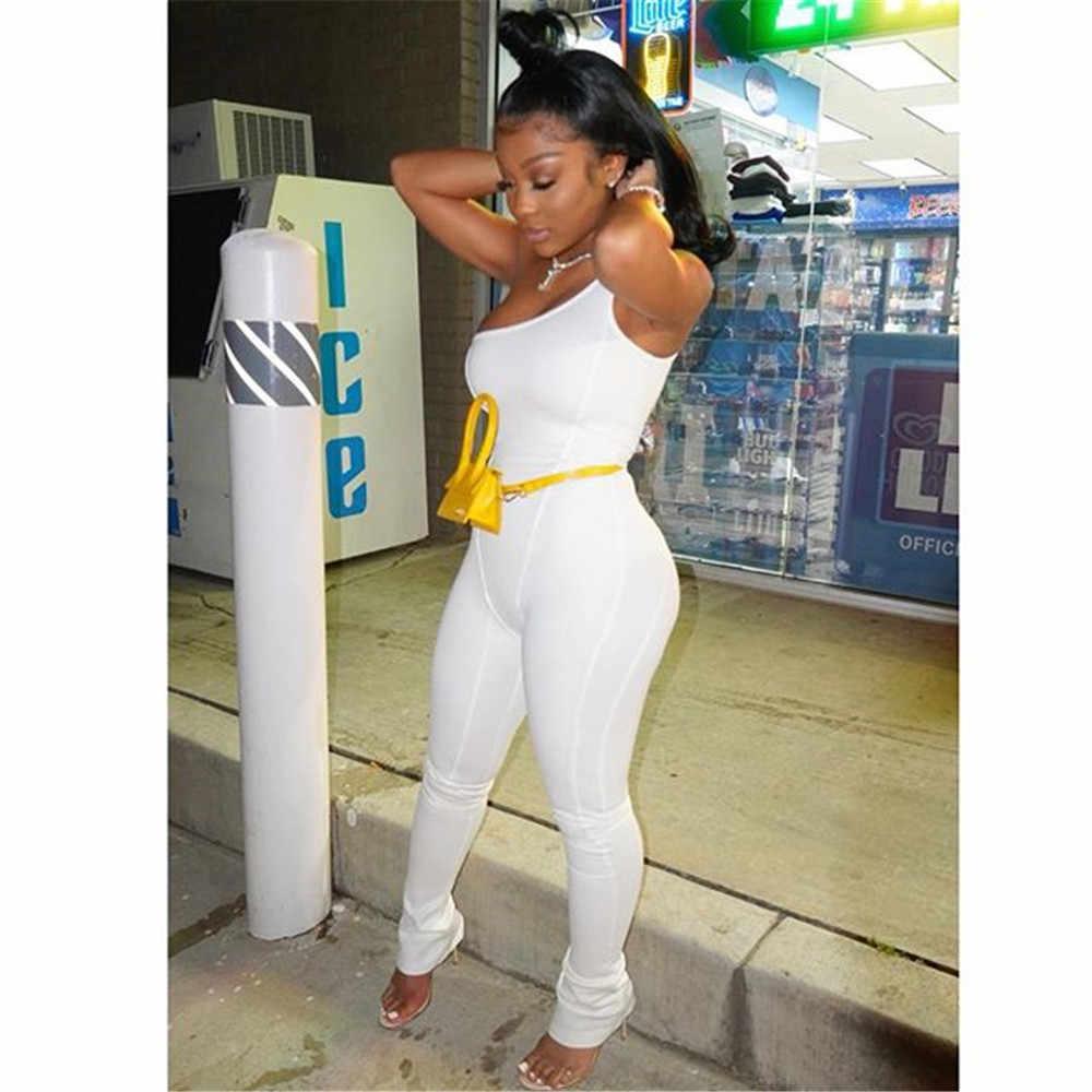 2019 été combinaison femmes décontracté barboteuses Slim femme blanc combishorts et combinaisons Skinny Streetwear femmes vêtements