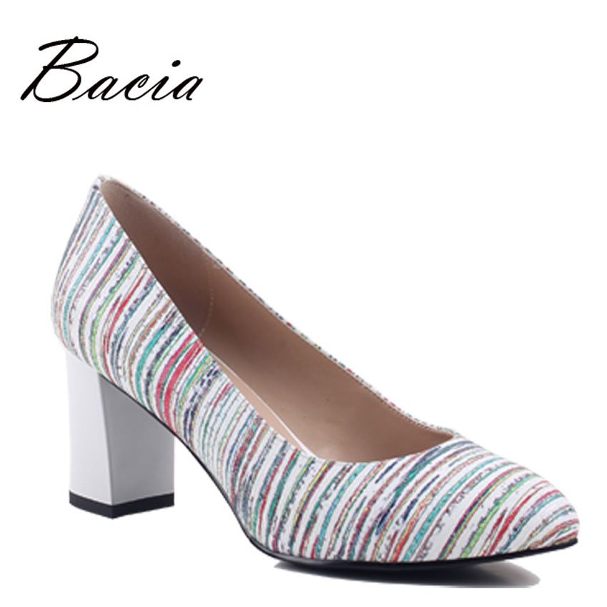Bacia Genuine Leather Shoes New 2017 Women Spring Summer High Heels Fashion Colorful  Pumps 33-40 Russion size Thick Heel SA001 dreamshining new fashion women colorful flat shoes women s flats womens high quality lazy shoes spring summer shoes size eu35 40