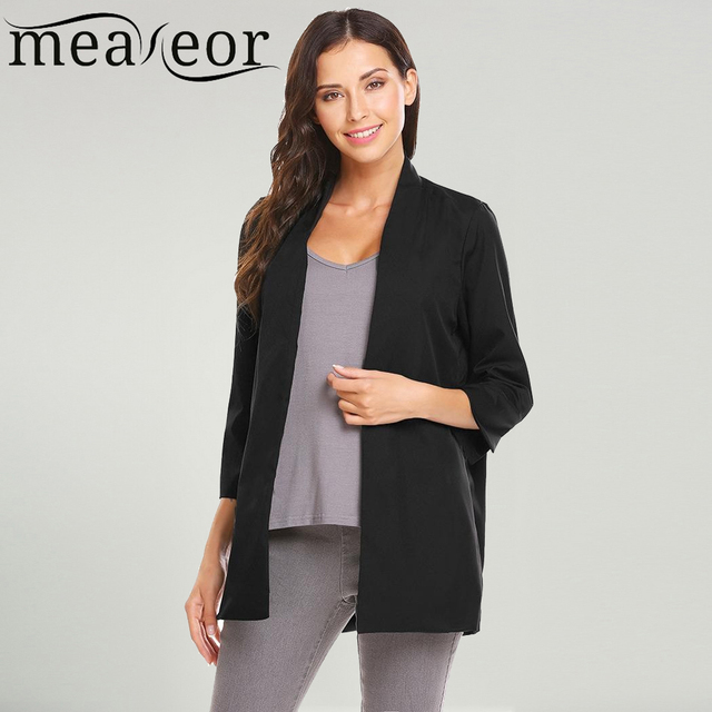 8075d3798 Meaneor Women 3 4 Sleeve Open Front Lightweight Casual Solid Cardigan Black  White Coat Office Jacket Work Interview Autumn Suit