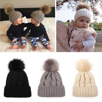M MISM 2018 Newborn Single Fur Ball Hat Kids Wool Knitting Solid Color Cap High Quality Trendy Cute Children Head Accessories