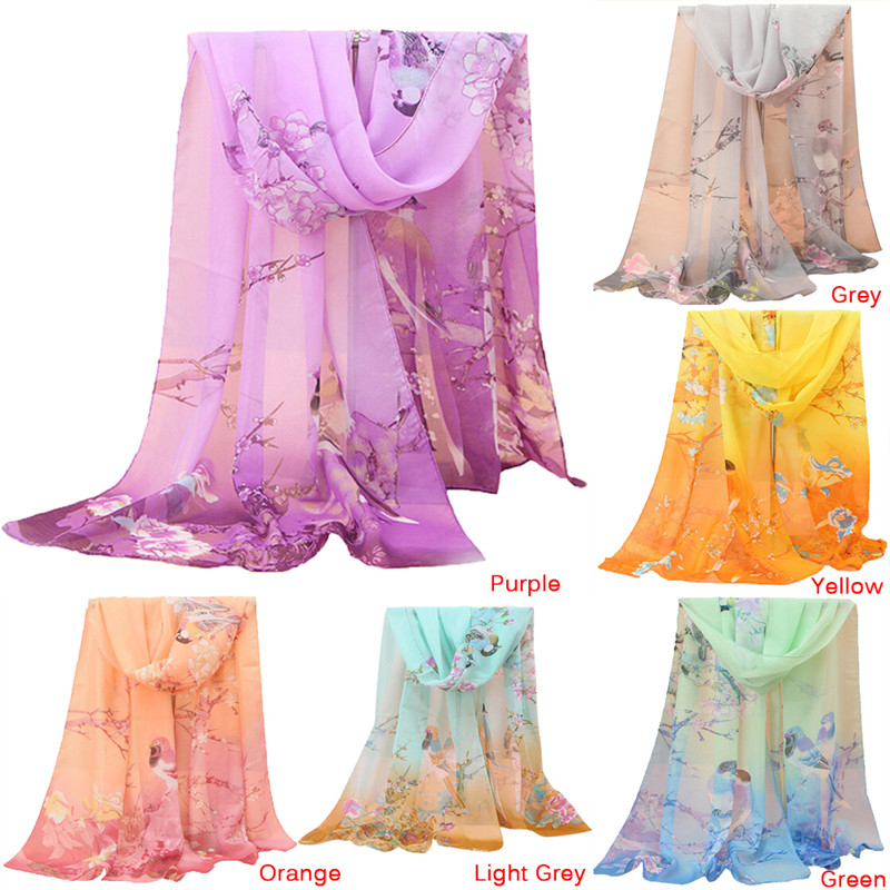 Soft Thin Chiffon Silk   Scarf   Animal Bird printed   Scarves     Wrap   Shawl Swimsuit Cloak mujer Foulard stoles Beach Silk   scarf   Women