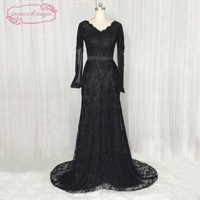 SuperKimJo Long Sleeve Black Lace Evening Dress 2018 Elegant Mermaid Cheap Formal Dresses for Women Vestido De Festa
