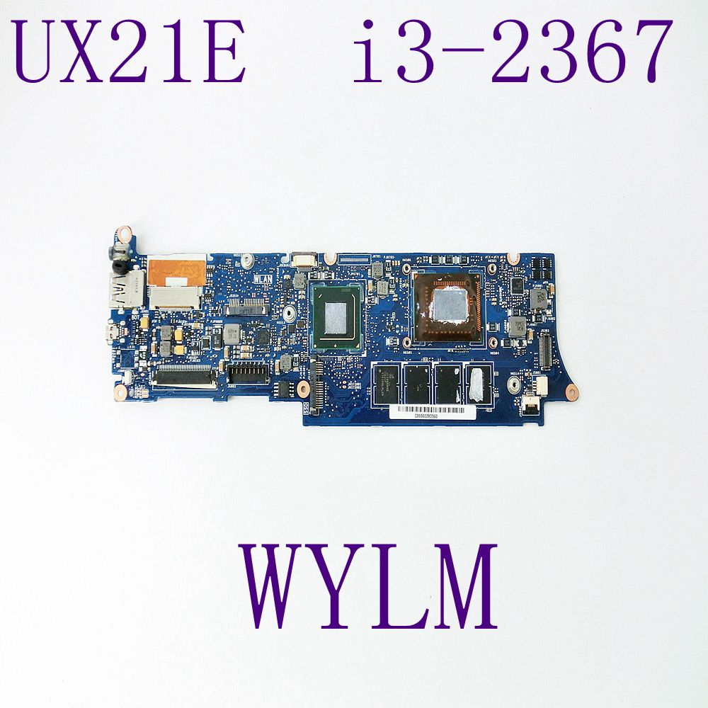UX21E With i3-2367 CPU 4GB RAM Mainboard For ASUS UX21 UX21E Laptop Motherboard 60-N93MB2D00 100% Tested Working free shipping ux21e for asus laptop motherboard mainboard i3 cpu 4g qs67 chipset usb3 0 with 100% tested