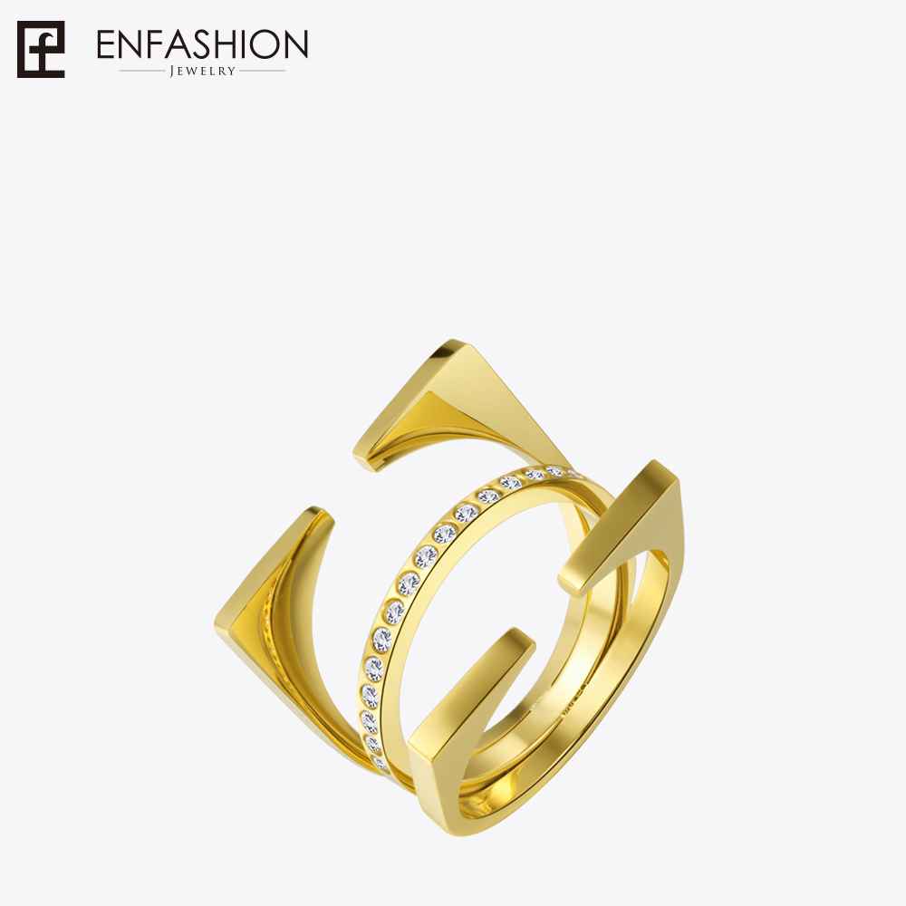 Enfashion 3 Rows Geometric Rings Gold color Midi Ring Stainless Steel Ring Knuckle Rings For Women Jewelry Bagues Anillos 4pcs of alloy knuckle rings