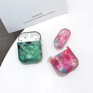 Image 5 - Funda protectora de silicona decorativa con diseño de concha de pez de mármol bonito para Apple Airpods1/2, funda de auriculares Bluetooth anticaída