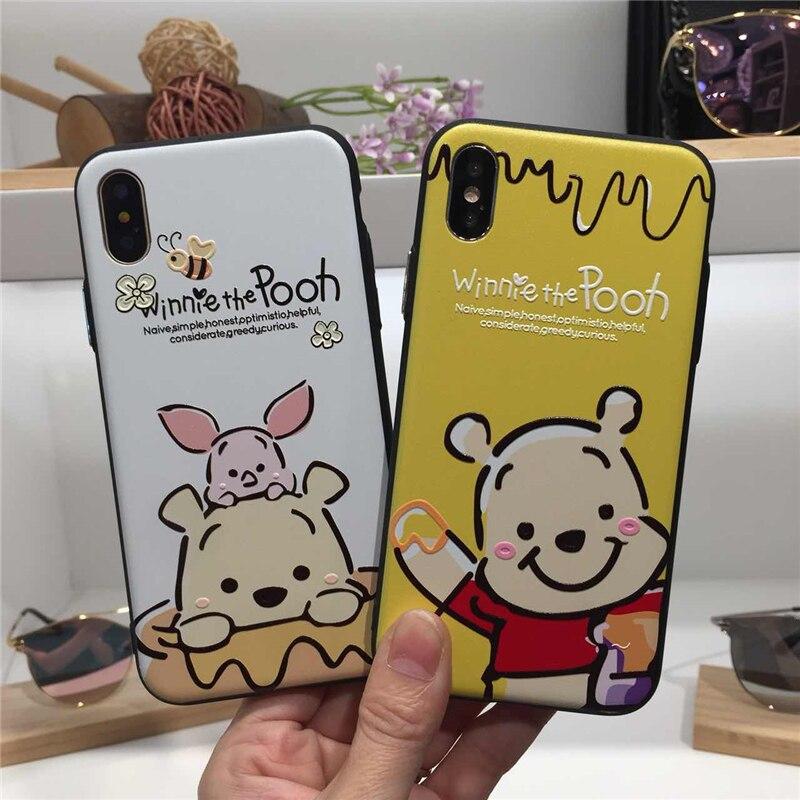 Cute Cartoon Winnie Pooh Phone Cover Case For Iphone X Xs Max Xr 10 8 7 6 6s Plus 3D relief Silicone hard plastic Coque Fundas winnie the pooh iphone case