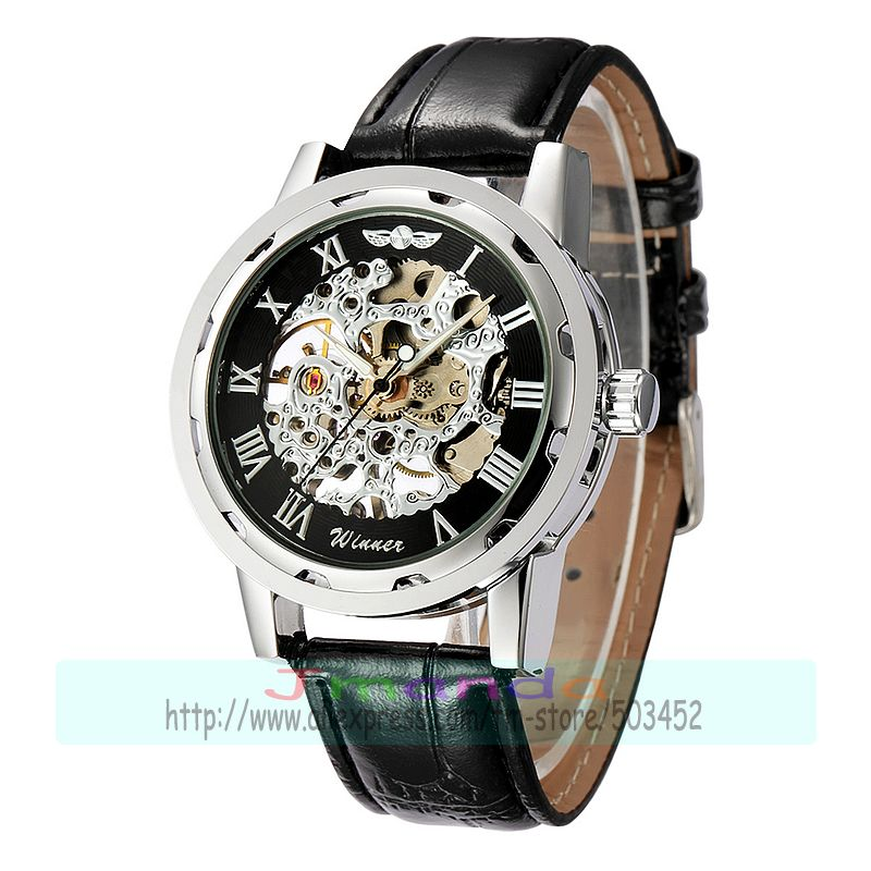 30 шт./лот победитель-614 победитель брендовая натуральная кожа часы, Скелет механические часы hollow out механические часы - Цвет: black dial silver