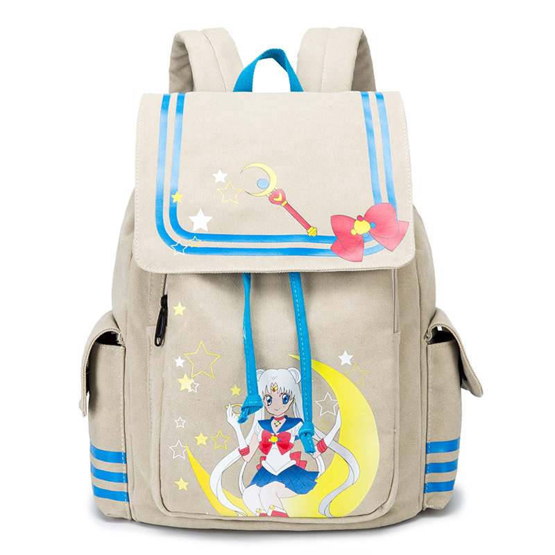 New Fashion Sailor Moon Backpack Canvas School Rucksack Schoolbag Travel Bags Large Capacity 14 Inch Laptop