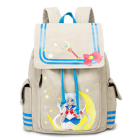 New Fashion Sailor Moon Backpack Canvas School Rucksack Schoolbag Travel Bags Large Capacity 14 Inch Laptop Back Pack Bagpack