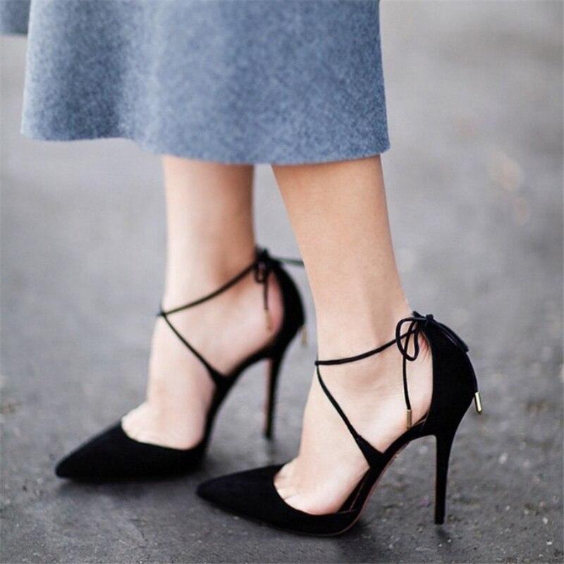 Haute Femmes Talons Stiletto Noir Pointu rose De À Noir Chaussures Nouveau Sexy Croix Pompe 2018 gris Hauts Banquet Sangle 0xZ0prq