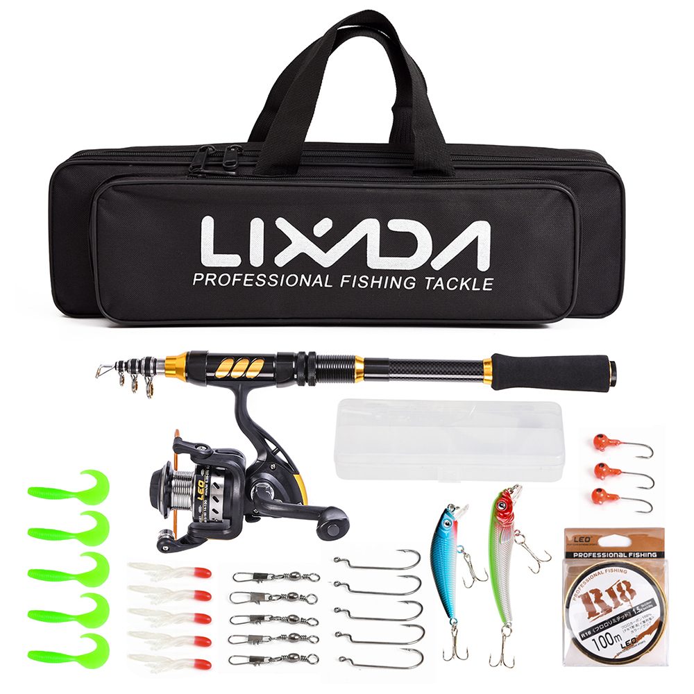 Lixada Pole-Set Fishing-Rod-Combo Telescopic Spinning Full-Kit 100M Lures-Hooks Jig-Head-Pesca
