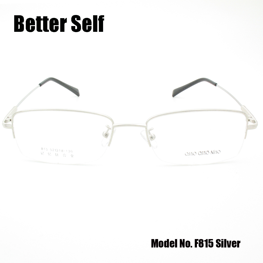 Brýle s půl ráfkem Paměť Titanový měkký chrám Brýle mohou dělat krátkozraké brýle Ženy Muži Brýle Rámy Lepší Self F815