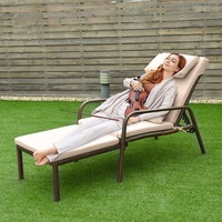 Giantex Pull Out Chaise Lounge Rattan Chair Wicker Porch Patio Height Adjustable Cushion Outdoor Furniture HW58522