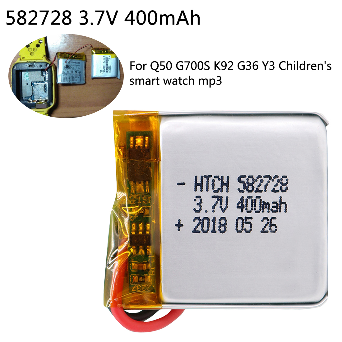 <font><b>400mAh</b></font> <font><b>3.7V</b></font> 582728 Rechargeable li-Polymer Li-ion <font><b>Battery</b></font> For Q50 G700S K92 G36 Y3 Children's Smart Watch MP3 Bluetooth Headset image