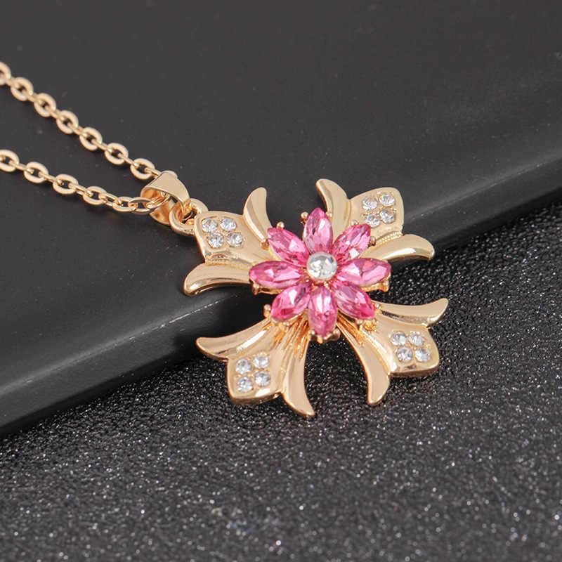 Длинное модное вращающееся ожерелье, ажурное крест, подвеска, цветок, леди, темперамент, геометрическое блестящее ожерелье 2019