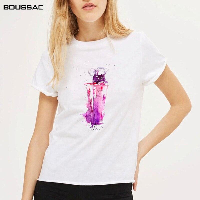 Women Clothes 2019 Short Sleeve TShirt Splash Watercolor perfume Print on Tshirt Harajuku Cotton Top Tees Casual Female T-Shirt