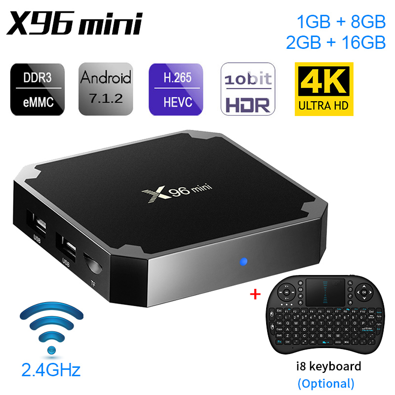X96 Mini 1GB +8GB 2GB+16GB Android 7.1 TV Box 4K HD 2.4G Built In Wifi Set Top Boxes IPTV Smart HD 2.4G Set Top Box Optional