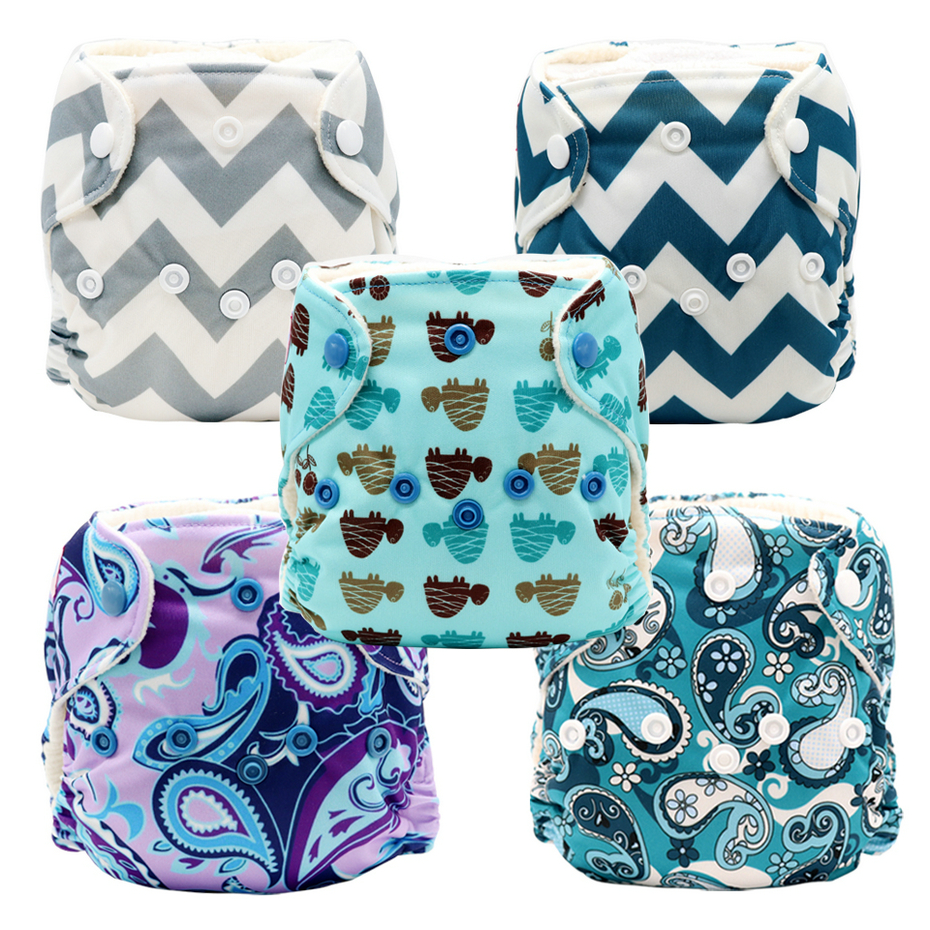 MABOJ Newborn AIO Cloth Diapers 5 Pieces Baby Cloth Nappy Overnight With Microfiber Insert Waterproof Resuable Washable Nappies
