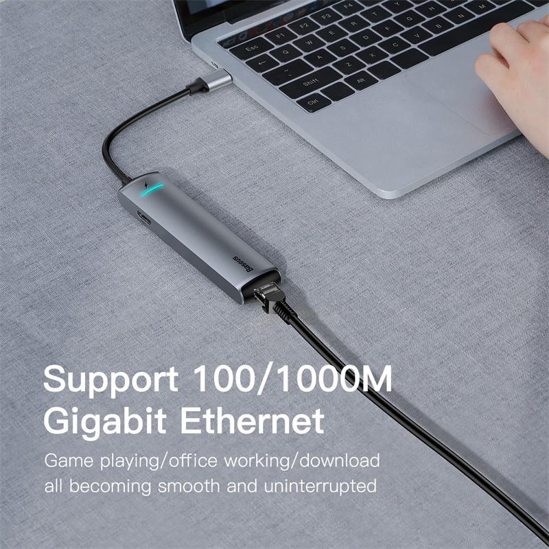 Image 5 - Baseus USB C HUB Type C to HDMI RJ45 Ethernet Multi Ports USB 3.0  USB3.0 PD Power Adapter For MacBook Pro Air Dock USB C HUB HABUSB  Hubs