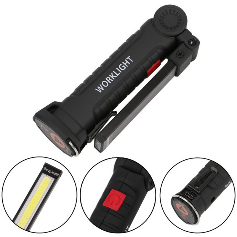 Outdoor Rechargeable Emergency Light LED Magnetic Torch COB Flashlight Inspection Lamp Car Repair Light Camping Lamp