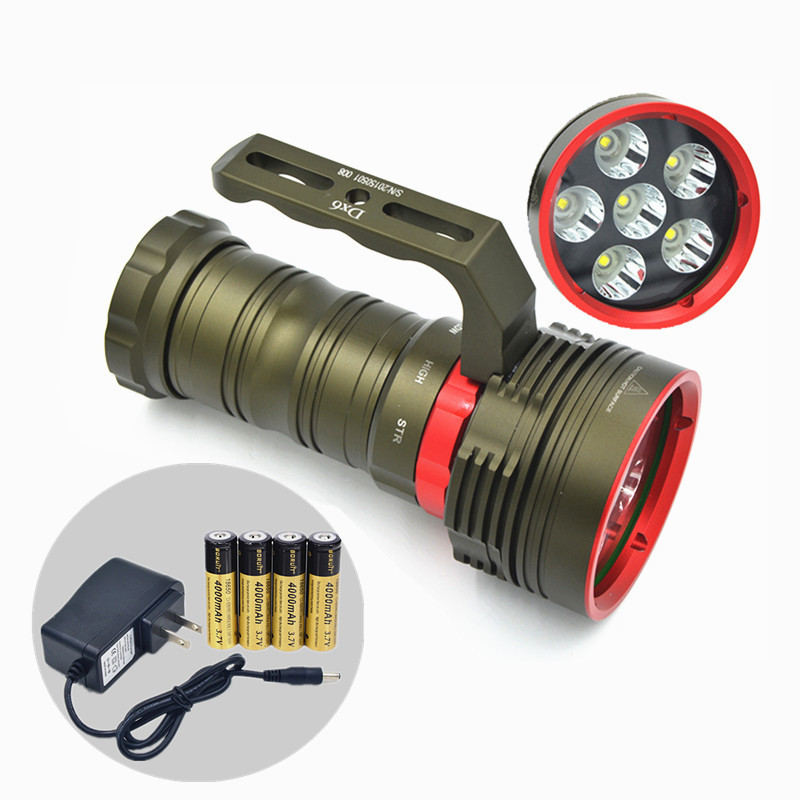 New 200M Waterproof 9000LM CREE XM-L L2 LED Lantern Diving Flashlight Torch +4*18650+Charger uniqurfire 5000lm uf 1400 4 led cree xm l2 high power rechargeable lantern flashlight black torch for 4 18650 battery waterproof