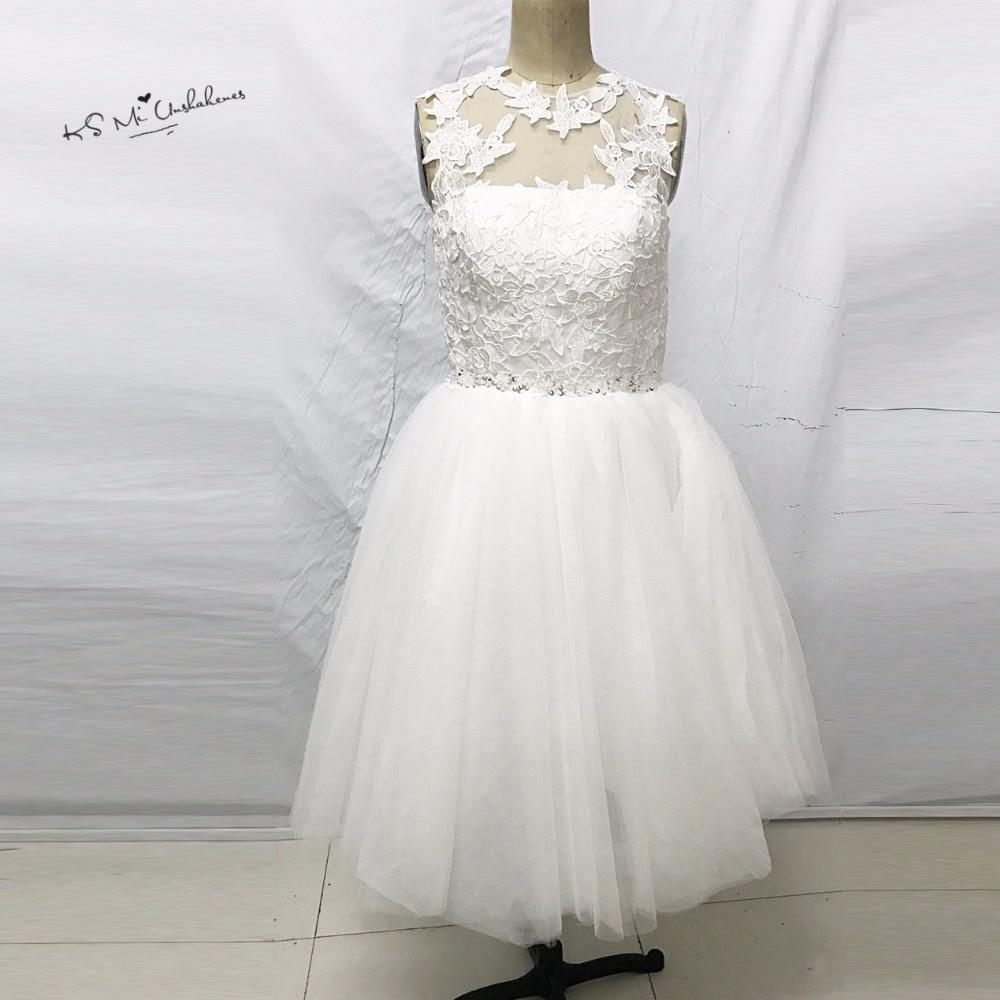 Vintage Short Wedding Dress Lace Knee Length Wedding Gowns