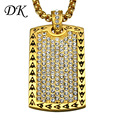David Kabel 316L Stainless steel masonic gold necklace Crystal men's gold plated masonic pendant