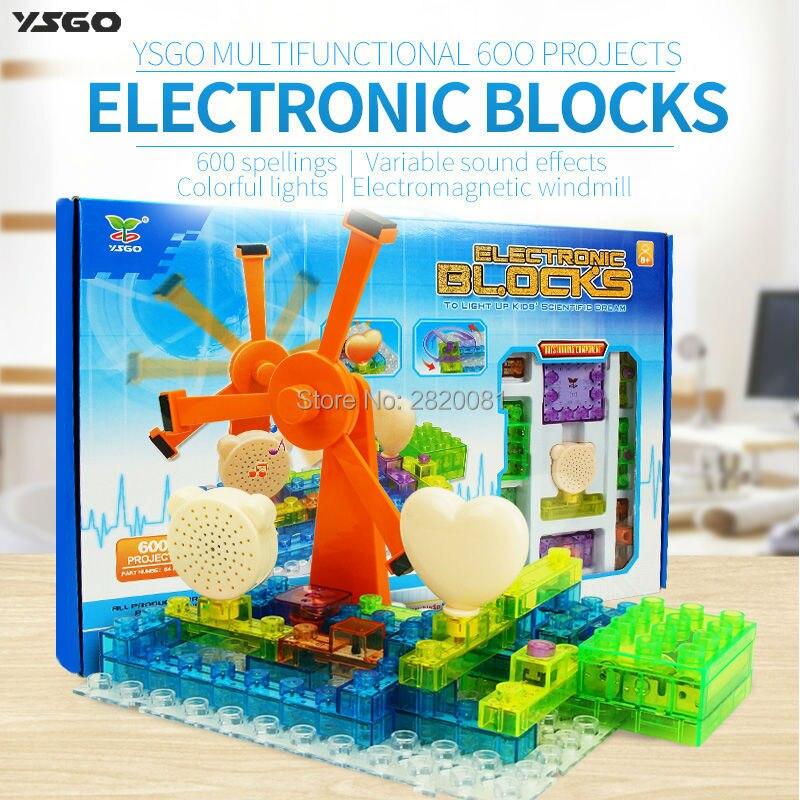 Blocs électroniques 600 orthographes projets 64 pcs électromagnétique windmill assemblé jouets, kid éducation & smart science DIY kit