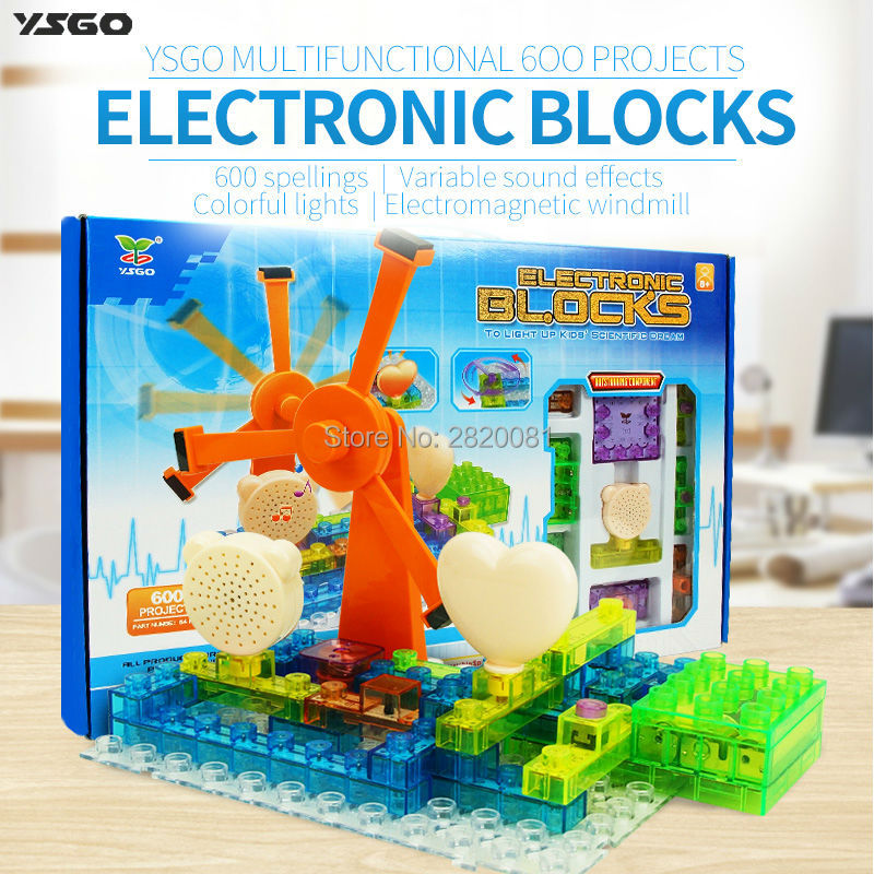 Electronic blocks 600 spellings projects 64 PCS electromagnetic windmill assembled toys,kid educational&smart science DIY kit keyes kt0044 electronic blocks kit