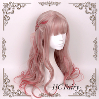 Lolita Sweet Daily Wig Mixed Pink Girl Long Curly Wavy Body Wave Cosplay Baby Doll Princess Crystal Synthetic Hair Adult Women