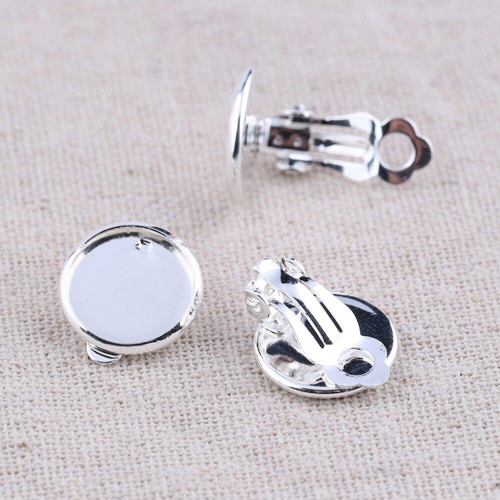Onwear 40 pcs argent plaqué blanc cameo cabochon boucle d'oreille base 12mm dia clip sur boucle d'oreille conclusions bricolage boucles d'oreilles faisant fournitures