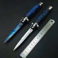 CHRISTMAS Gift Folding Knife Pocket Knife Hunting Knife For Traveling Elegant Blue Titanium Resin Handle Godfather