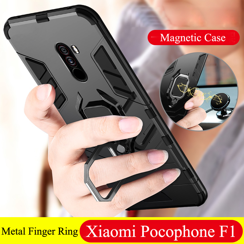 Armor For Xiaomi Pocophone F1 Case Shockproof PC TPU Protective Back Cover for Poco F1 Case Magnetic Holder Ring Bracket Case in Fitted Cases from Cellphones Telecommunications