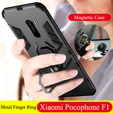 Armor For Xiaomi Pocophone F1 Case Shockproof PC+TPU Protective Back Cover for Poco F1 Case Magnetic Holder Ring Bracket Case for xiaomi pocophone f1 case slim skin matte cover for xiaomi f1 pocophone f1 case xiomi hard frosted cover xiaomi poco f1 case